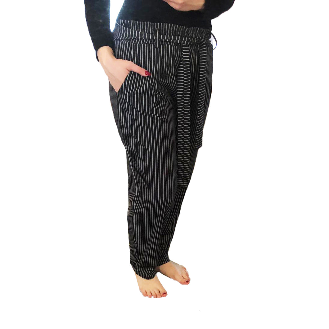 Black Pinstriped trousers with high waist and tie belt