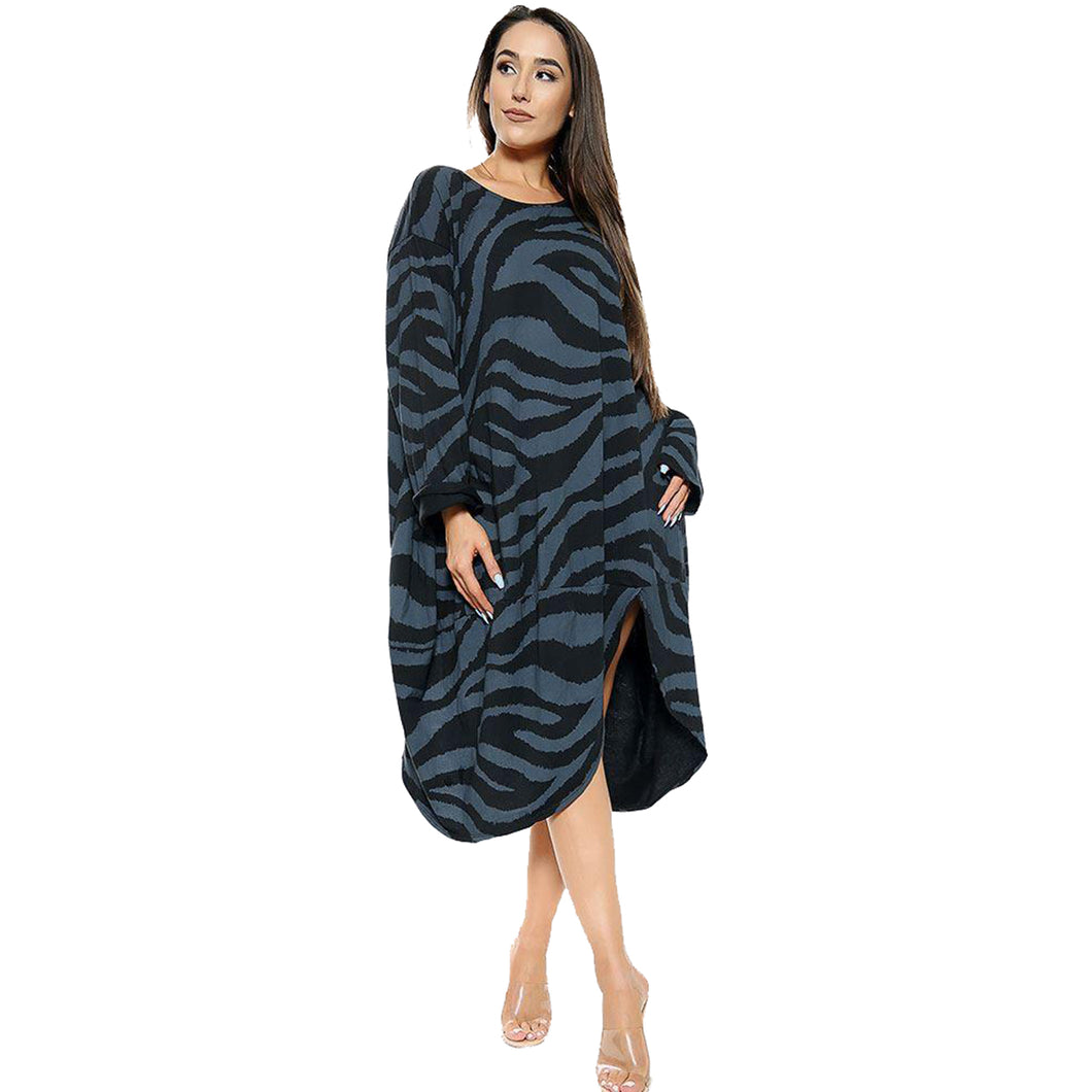 Loose fitting zebra Print oversized dress with v hem to the front