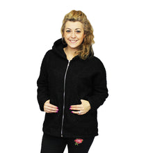 Load image into Gallery viewer, Teddy bear feel zip up jacket with gold zip and hood