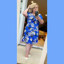 Load image into Gallery viewer, Floral short sleeve skater style dress with mock wrap to top