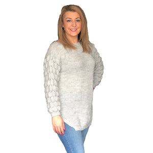 Dipped hem jumper with bobble sleeves