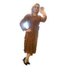 Load image into Gallery viewer, Brown frilled side chiffon long sleeve shift dress - CLEARANCE