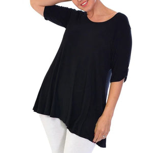Loose fitting longer length top with button sleeves