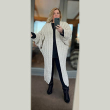 Load image into Gallery viewer, Cable knit Batwing loose fitting long length cardigan