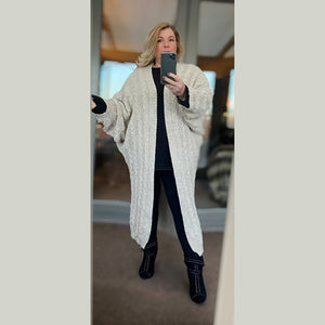 Cable knit Batwing loose fitting long length cardigan