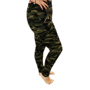 Camo Print Stretchy leggings with zip or pocket feature