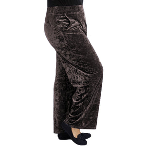 Crushed Velvet Elasticated Waist Trousers - plus sizes too