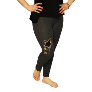 Leggings with studded star to one leg