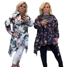 Load image into Gallery viewer, Floral dipped hem chiffon blouse - plus sizes