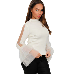 Turtle Neck Ribbed top with sparkly frilled chiffon sleeves