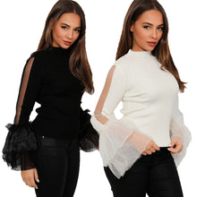 Load image into Gallery viewer, Turtle Neck Ribbed top with sparkly frilled chiffon sleeves