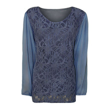 Load image into Gallery viewer, Lace blouse with long chiffon sleeves - Plus sizes too