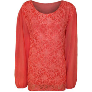 Lace blouse with long chiffon sleeves - Plus sizes too