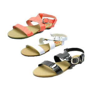 Patent strappy flat sandals with wide straps
