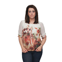 Load image into Gallery viewer, Cream Floral 3/4 sleeve puffball blouse