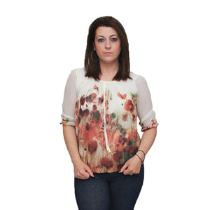 3/4 sleeve puffball blouse