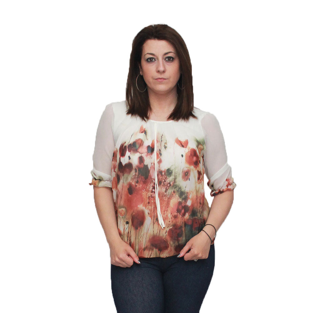 Cream Floral 3/4 sleeve puffball blouse