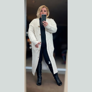 Long length button front cable knit cardigan
