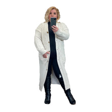 Load image into Gallery viewer, Long length button front cable knit cardigan