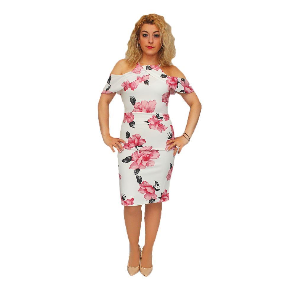 Fitted dress with frilled neck line and Pink flowers
