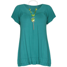 Load image into Gallery viewer, V-neck short sleeve top with frilled hem + necklace
