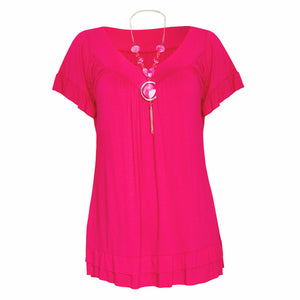 V-neck short sleeve top with frilled hem + necklace