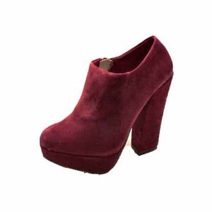 Cherry Red Suedette chunky block high heel ankle boots