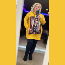 Load image into Gallery viewer, Long length hoody with side pockets and face print