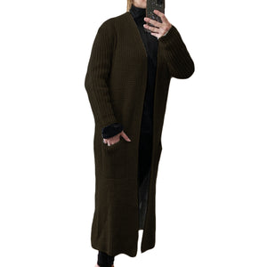 Long length Fishermans rib cardigan with pockets