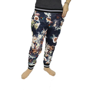 Floral elasticated waist trousers with pockets + ankle cuffs