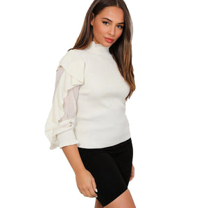 Cream high neck jumper / top with gorgeous frilled sleeves