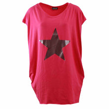 Load image into Gallery viewer, Long length top with side pockets + silver star print