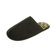 Load image into Gallery viewer, Open back suedette slippers with checked lining MENS