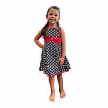 Load image into Gallery viewer, Girls Black / red Lined sleeveless party dress with red bow waist