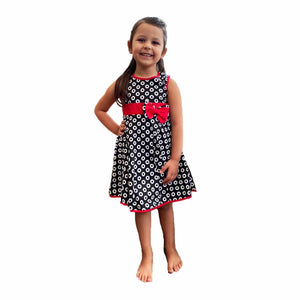 Girls Black / red Lined sleeveless party dress with red bow waist