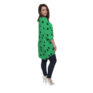 Loose fitted top with dipped hem and star print