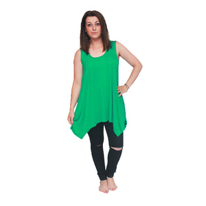Sleeveless long length loose fitting tunic top with hanky hem