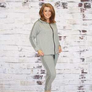 Grey Tracksuit with side striped and zip up hoody