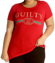 Load image into Gallery viewer, Longer length tshirt with guilty logo