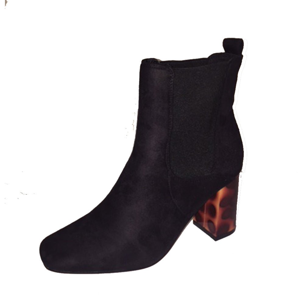 Black ankle boots with red leopard transparent block heel