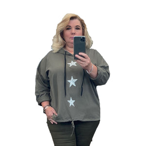 Hoody / jumper with 3 parkly glitter hearts