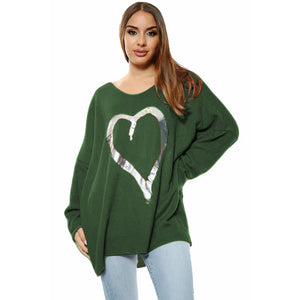 Loose fitting super soft jumper with large silver foil heart