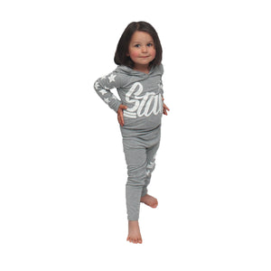 Little Girls Light Grey Star hoody tracksuit