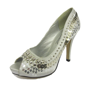 Silver Satin Peep toe court shoes with large silver sequins