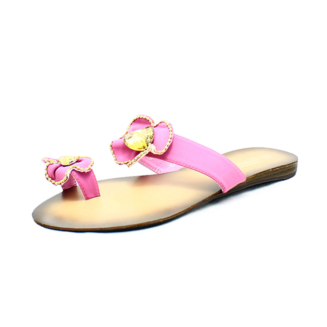 Pink Flat sandals with gold edging and toe ring
