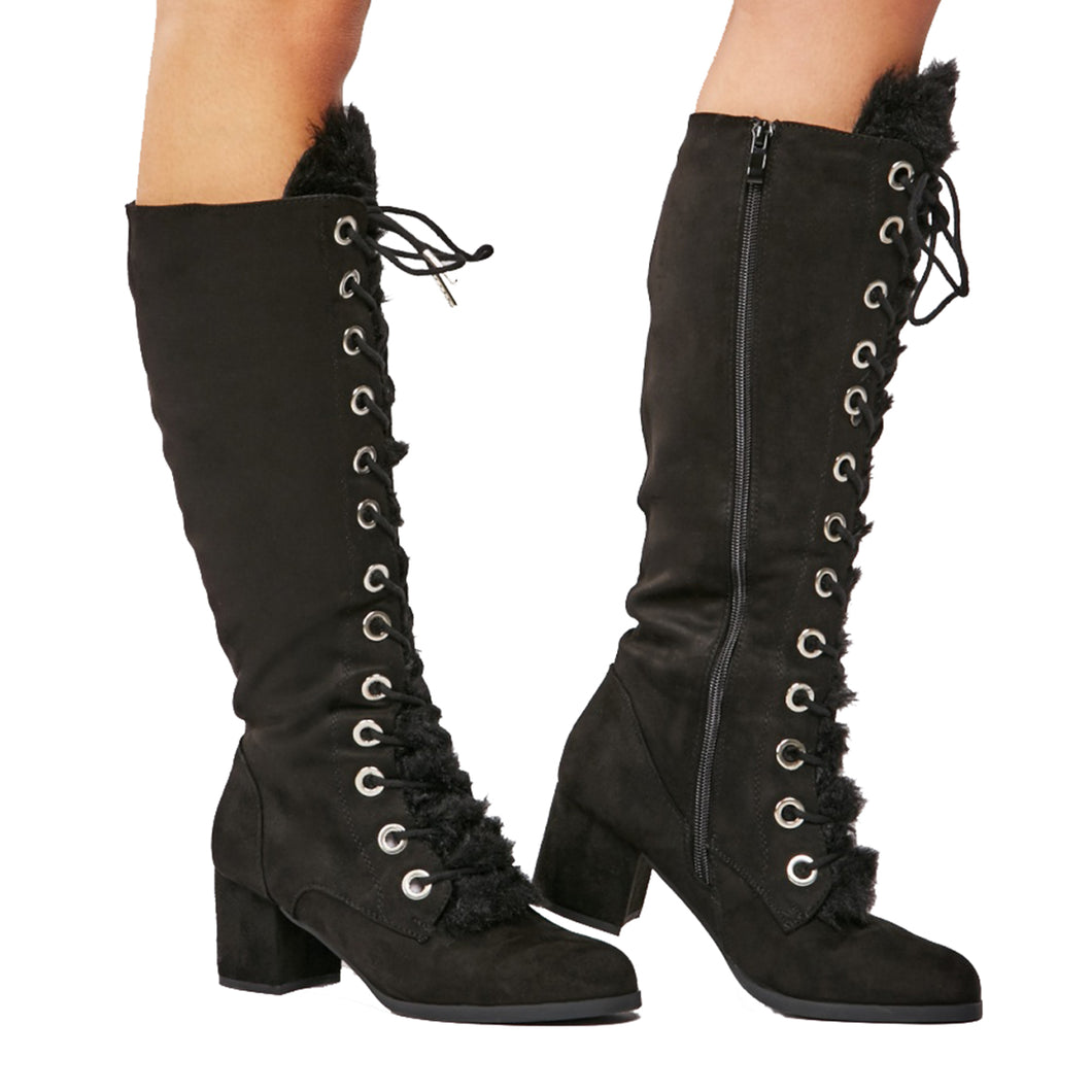 Low block heel knee length boots with furry tongue