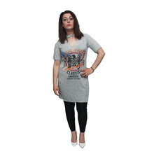 Load image into Gallery viewer, Live fast longer length top / tshirt with choker neck