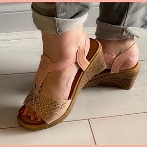 Pink elasticated Cushioned Wedge heel sandals