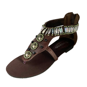 Heavy Beaded flat t bar sandals with toe post