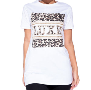 Short sleeve t-shirt with gold / leopard Luxe logo